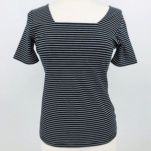 Tahari Striped Knit Top Black/white Sz XS